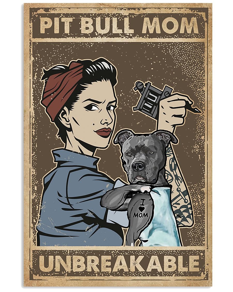 Unbreakable Pit bull Tattoo Girl 11x17 Poster