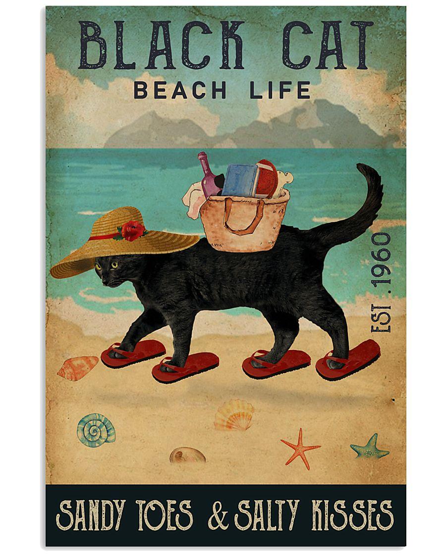 Beach Life Sandy Toes Black Cat 11x17 Poster
