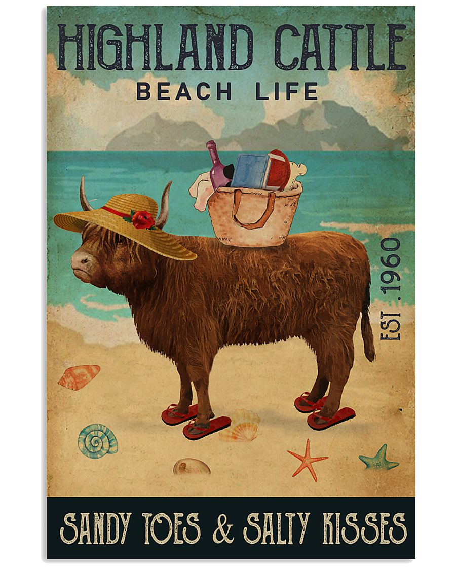 Beach Life Sandy Toes Highland Cattle 11x17 Poster