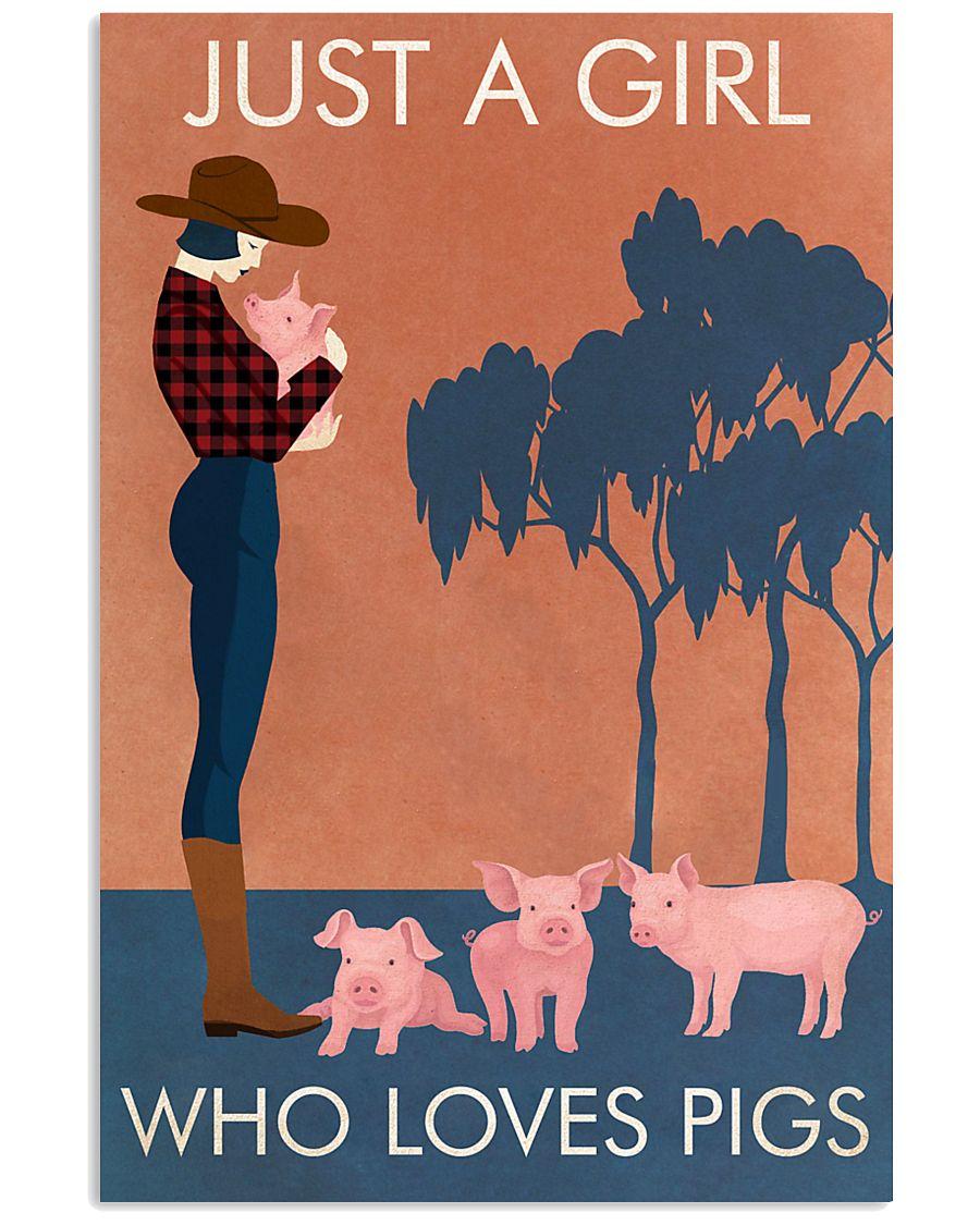 Vintage Girl Who Loves Pig 11x17 Poster
