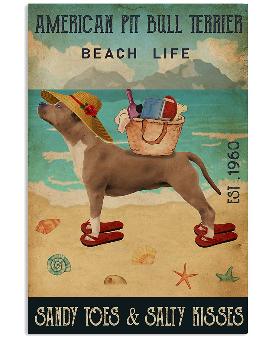 Beach Life Sandy Toes American Pit Bull Terrier 11x17 Poster