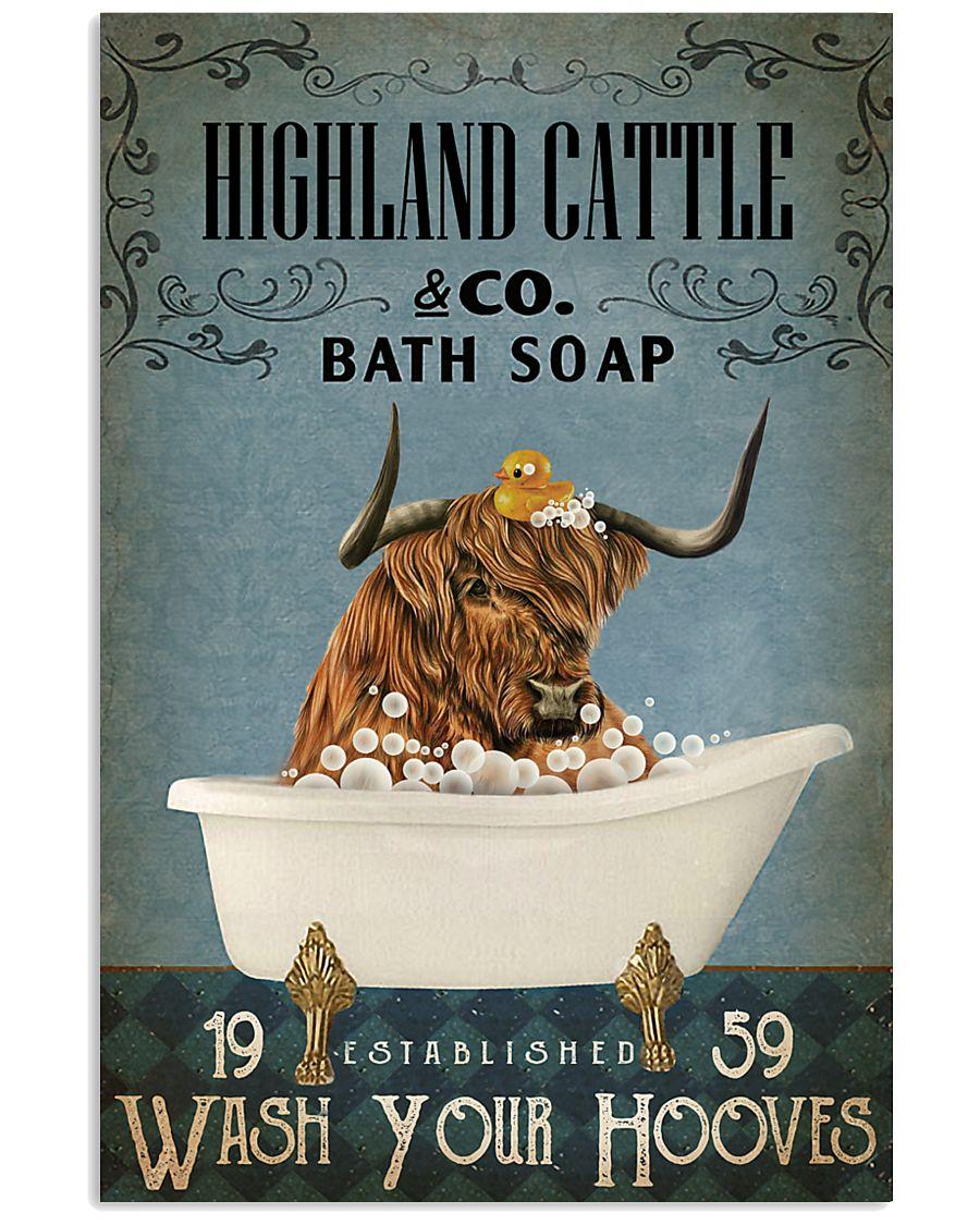Vintage Bath Soap Highland Cattle 11x17 Poster