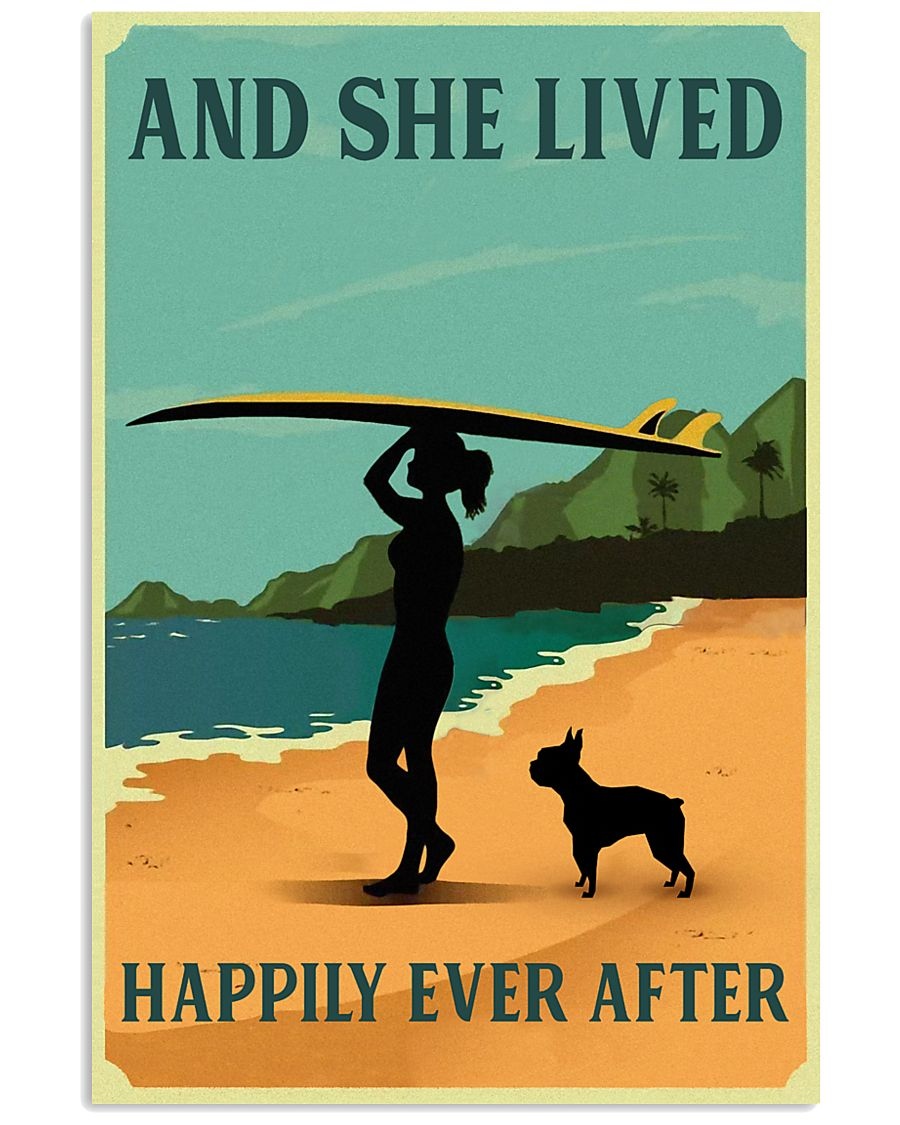 Vintage She Lived Happily Surfing Boston Terrier 11x17 Poster