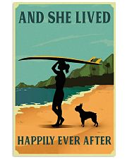 Vintage She Lived Happily Surfing Boston Terrier 11x17 Poster front