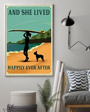 Vintage She Lived Happily Surfing Boston Terrier 11x17 Poster lifestyle-poster-1