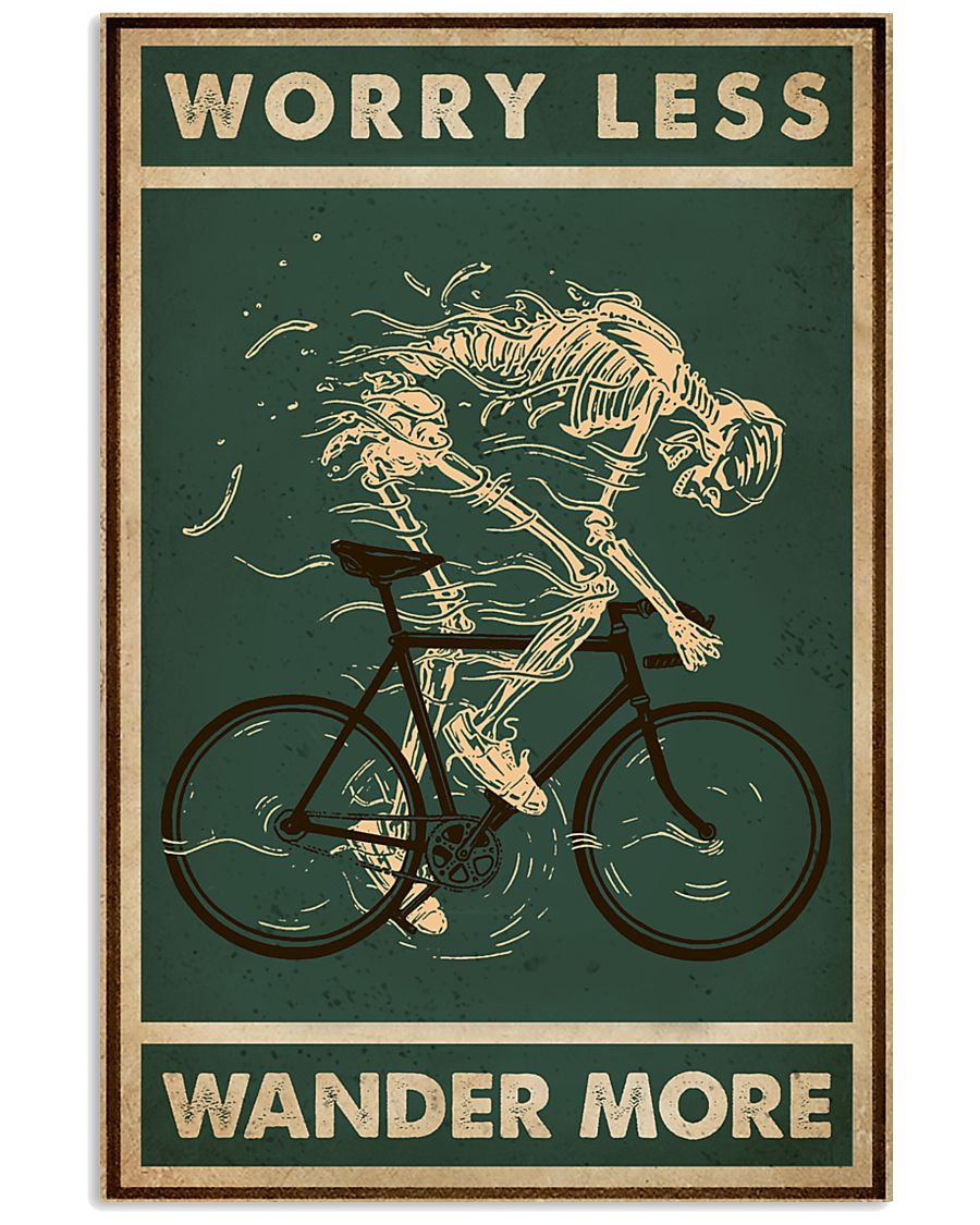 Retro Green Worry Less Cycling Skeleton 11x17 Poster