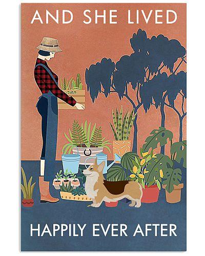 Vintage And She Lived Happily Gardening Corgi