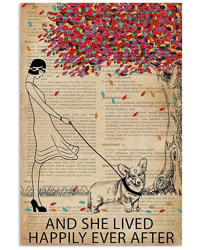 Live Happily Vintage Dictionary Tree Corgi