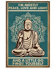 Retro Green Yoga Buddha Peace Love Light 11x17 Poster front