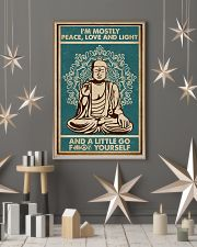 Retro Green Yoga Buddha Peace Love Light 11x17 Poster lifestyle-holiday-poster-1