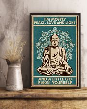 Retro Green Yoga Buddha Peace Love Light 11x17 Poster lifestyle-poster-3