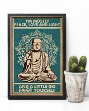 Retro Green Yoga Buddha Peace Love Light 11x17 Poster lifestyle-poster-8