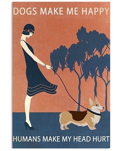 Vintage Girl Dogs Make Me Happy Corgi