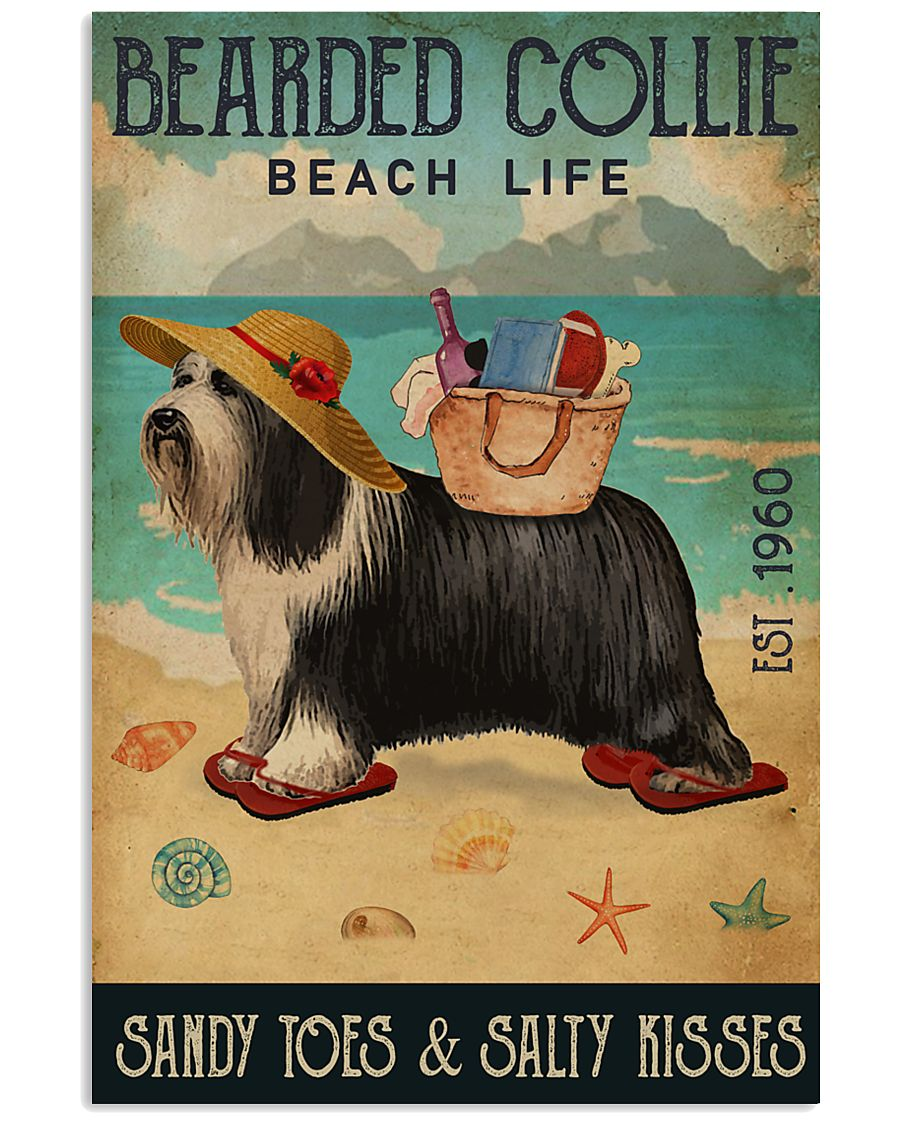 Beach Life Sandy Toes Bearded Collie 11x17 Poster