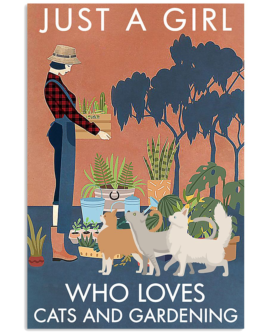 Vintage Just A Girl Loves Gardening And Cat 11x17 Poster