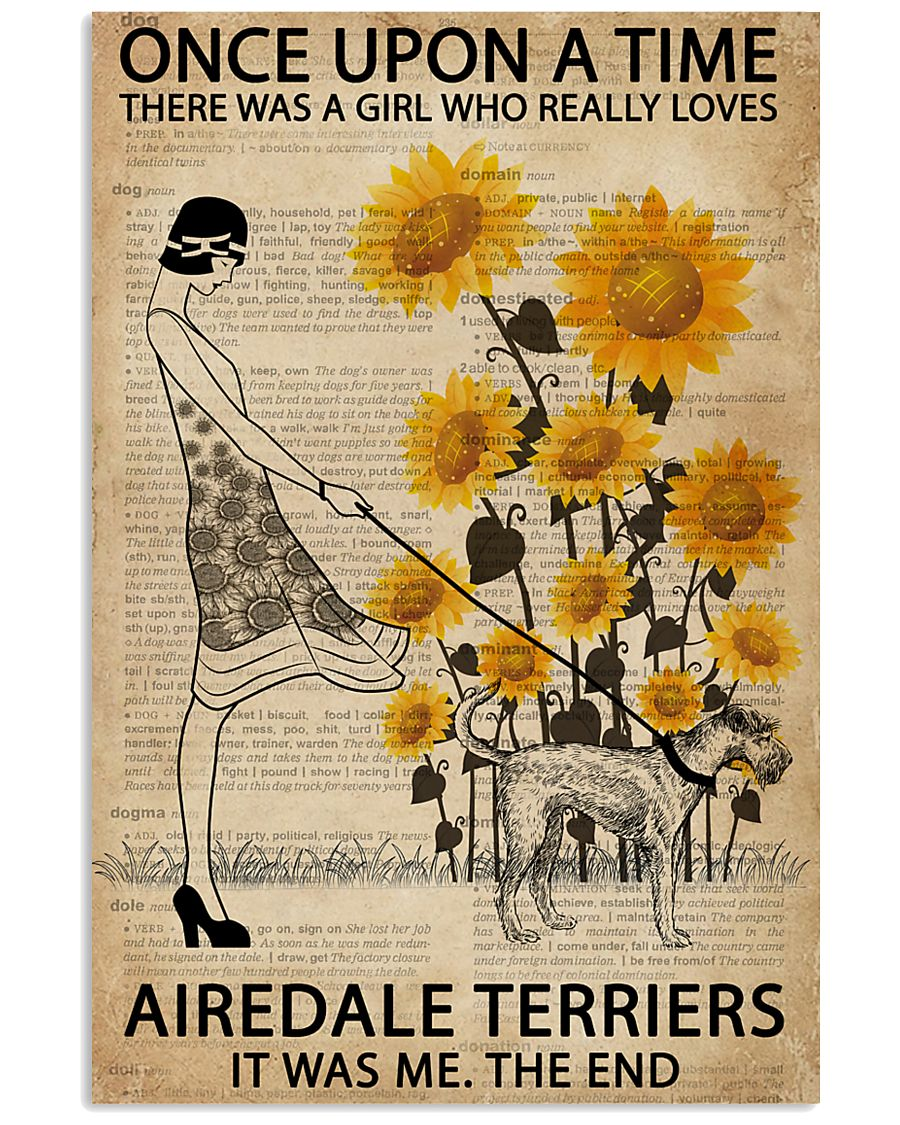 Dictionary Sunflower Girl Upon Airedale Terrier 11x17 Poster