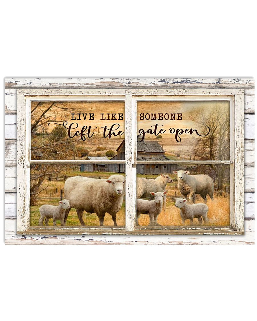 Window The Gate Open Sheep 24x16 Poster
