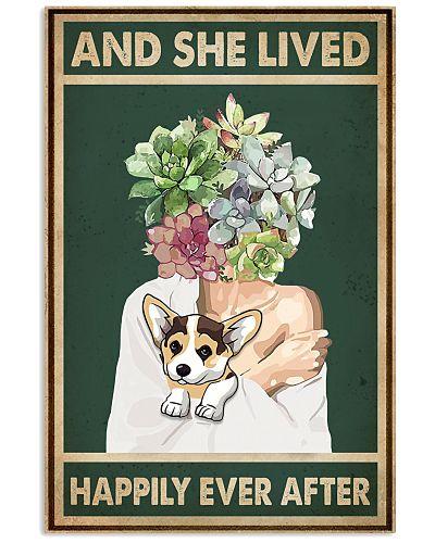 She Lived Happily Corgi Succulents