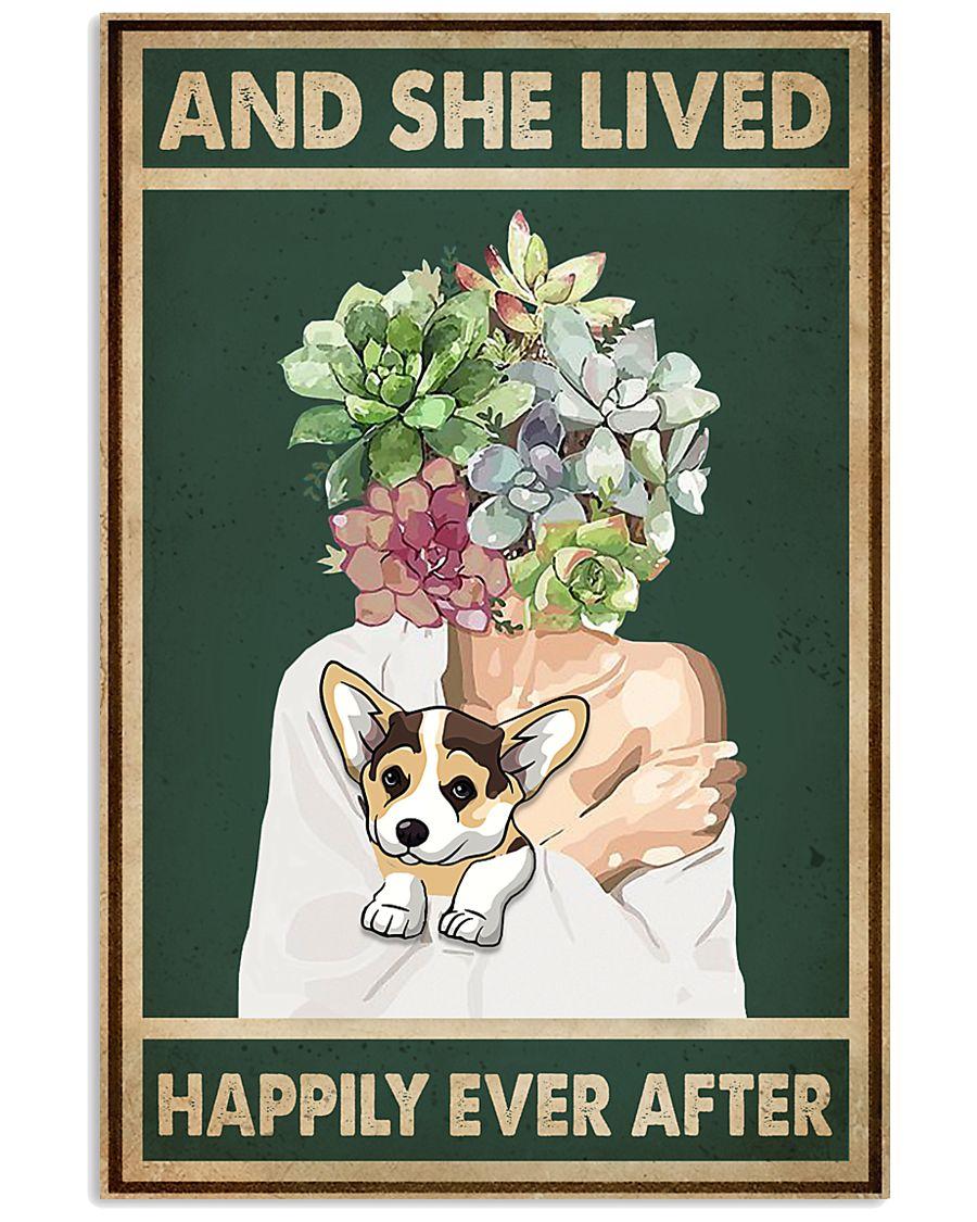 She Lived Happily Corgi Succulents 11x17 Poster