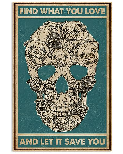 Retro Green Find What You Love Skull Pug