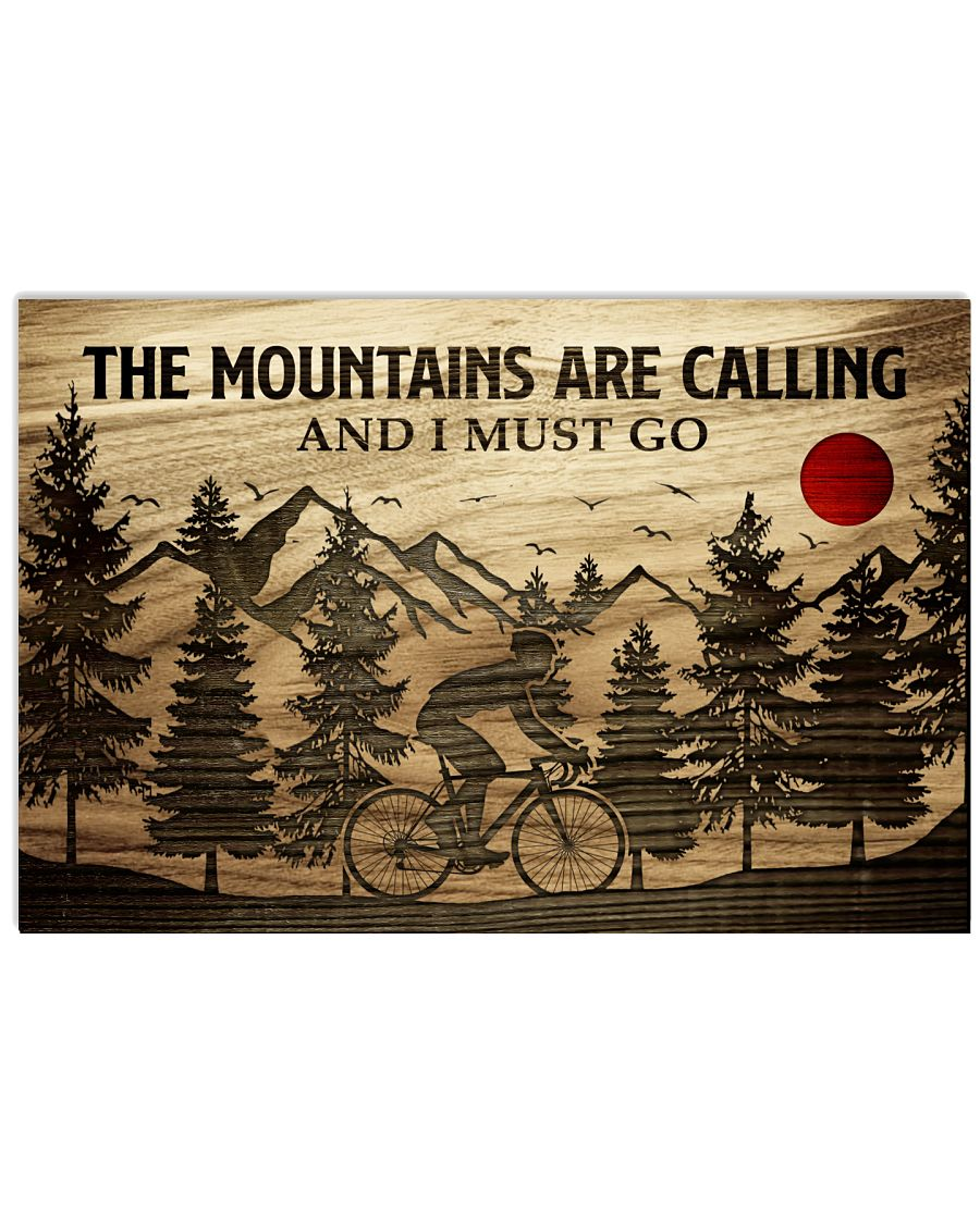 The Mountains Are Calling Cycling 24x16 Poster
