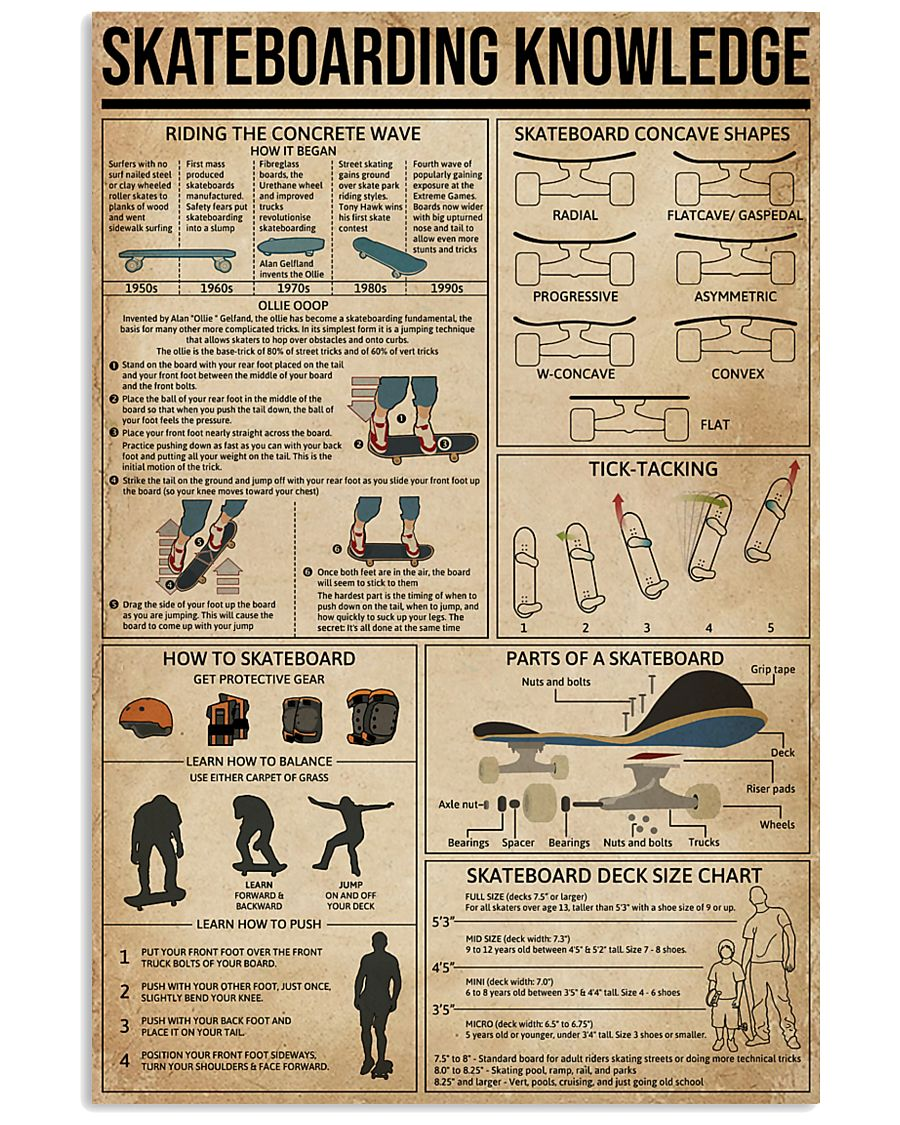 Skateboarding Knowledge 11x17 Poster
