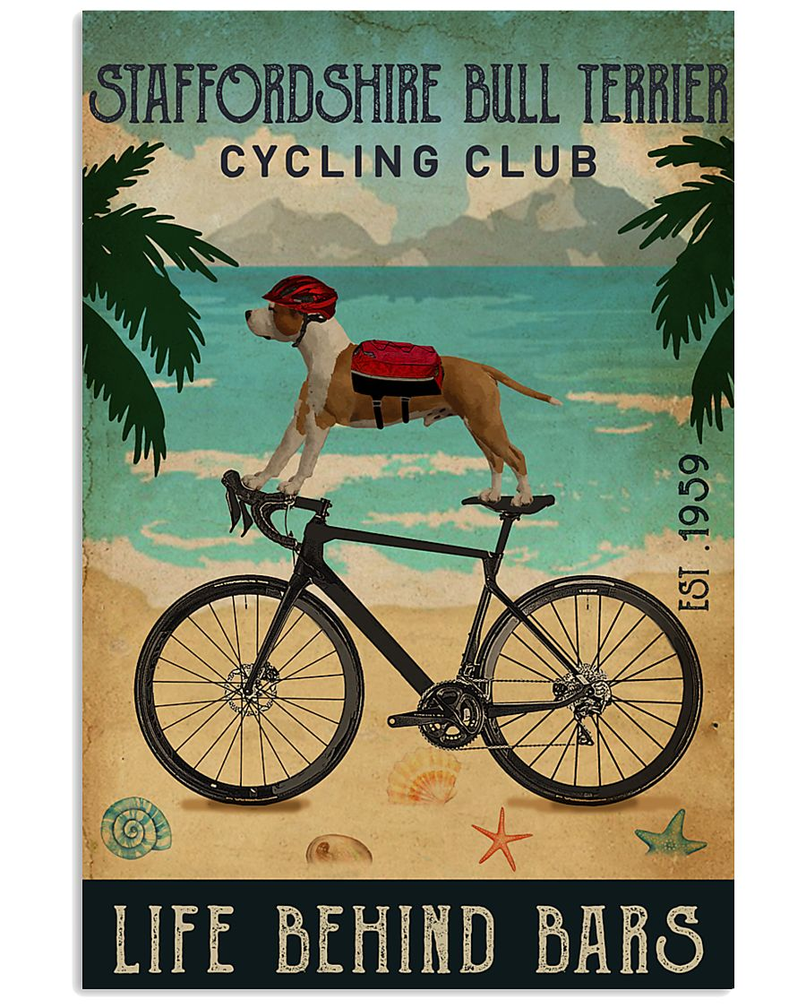 Cycling Club Staffordshire Bull Terrier 11x17 Poster