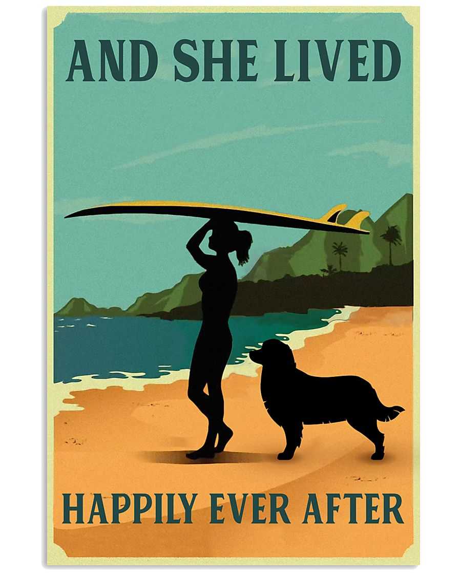 She Lived Happily Surfing Bernese Mountain Dog 11x17 Poster