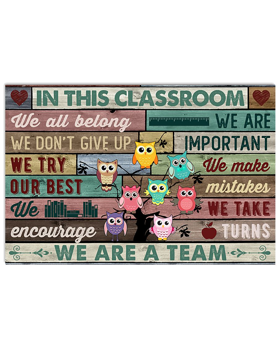In This Classroom Owls Teacher 24x16 Poster