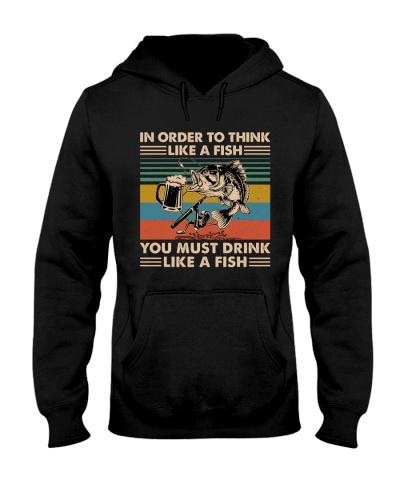 Drink Like A Fish Retro Blue Fishing