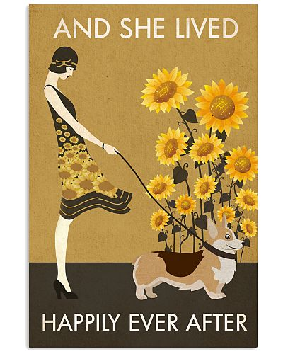 Sunflower Vintage Girl Lived Happily Corgi