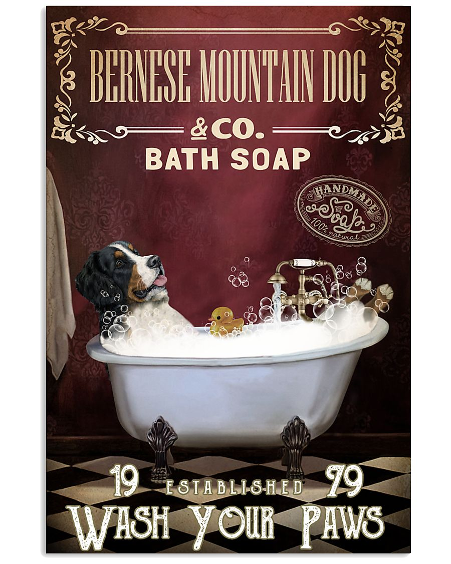 Red Supine Bath Soap Bernese Mountain Dog 11x17 Poster