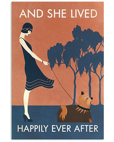 Vintage Girl Lived Happily Yorkshire Terrier