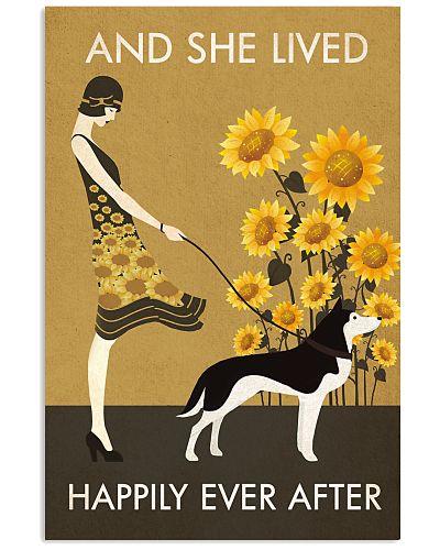 Sunflower Vintage Girl Lived Happily Husky