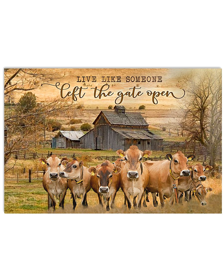 Jersey Cattle Let The Gate Open 24x16 Poster