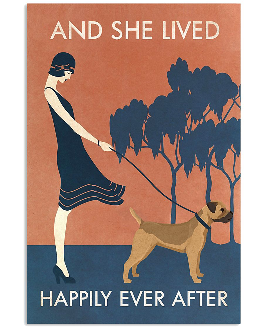 Vintage Girl Lived Happily Border Terrier 11x17 Poster