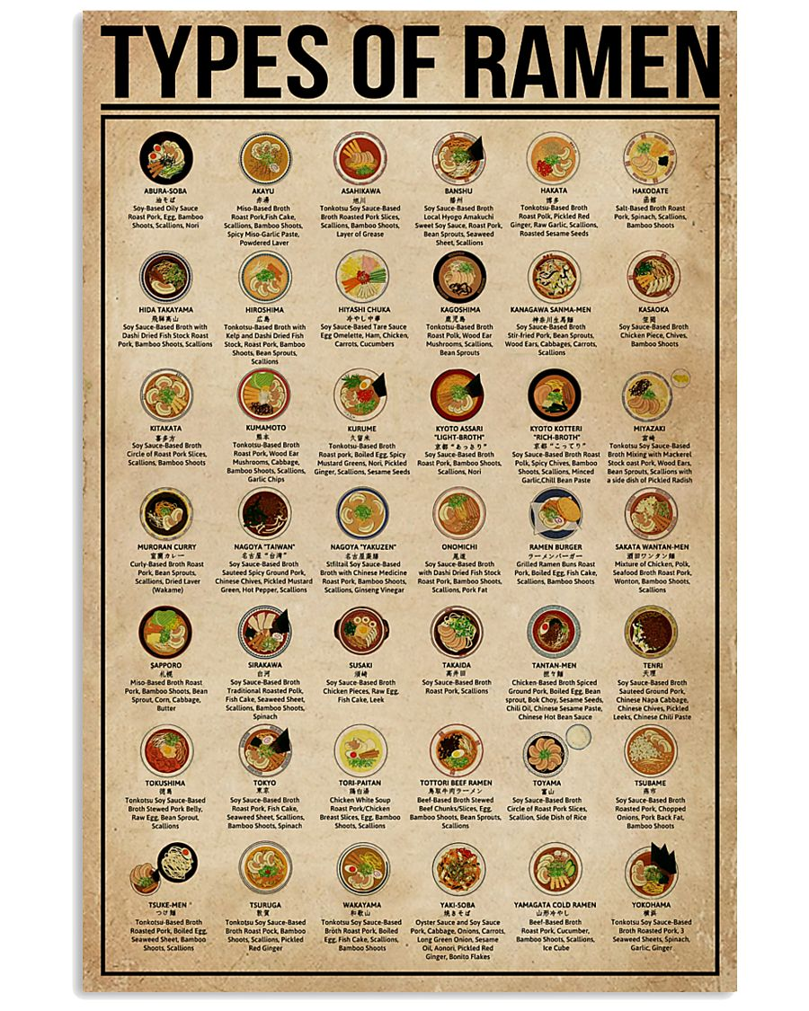 Types Of Ramen 11x17 Poster