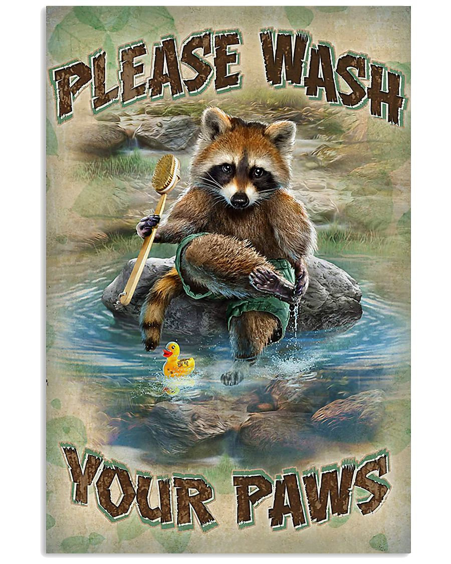 Raccoon Please Wash Your Paws 16x24 Poster