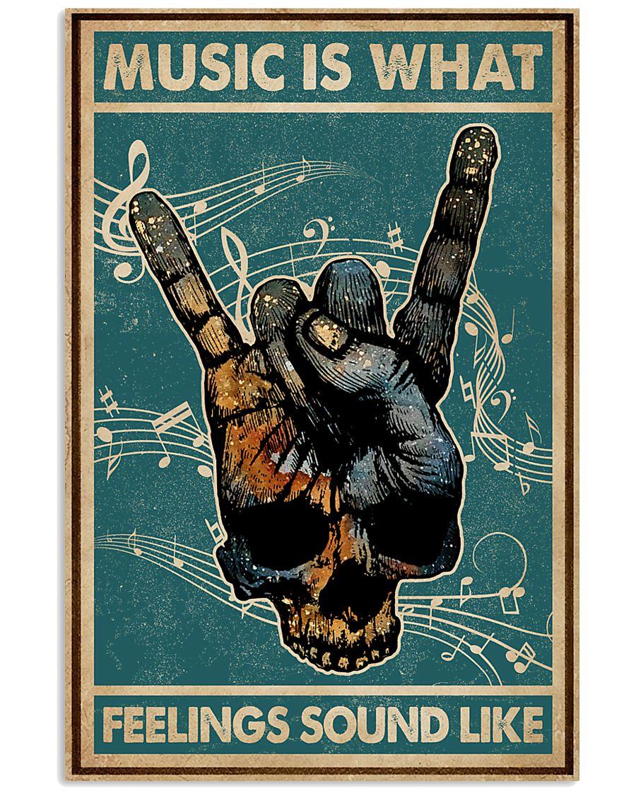 Retro Skull Rock Hand Music Feel Sound Like  11x17 Poster