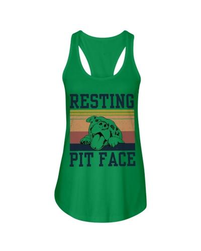 Retro Navy Resting Pit Face Pitbull