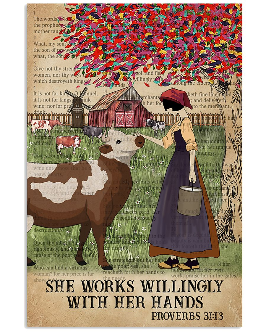 Catchphrase Works Willingly Hand Cattle Farm Girl 11x17 Poster