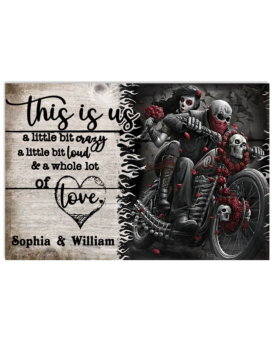 Personalize Motorcycling Skeleton A Little Bit Of  24x16 Poster