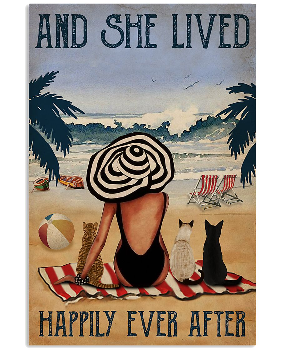 Vintage Beach Lived Happily Cats Girl 11x17 Poster