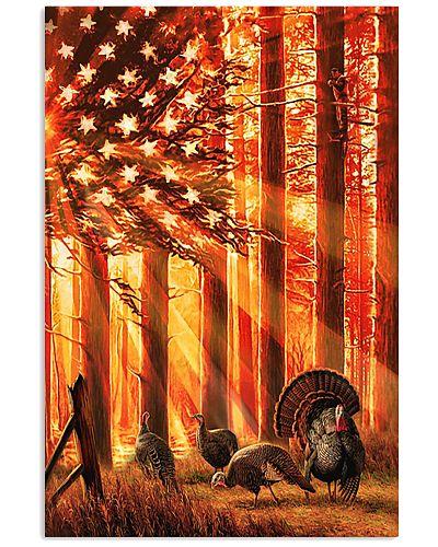 Hunting Turkey In The Sun Flag