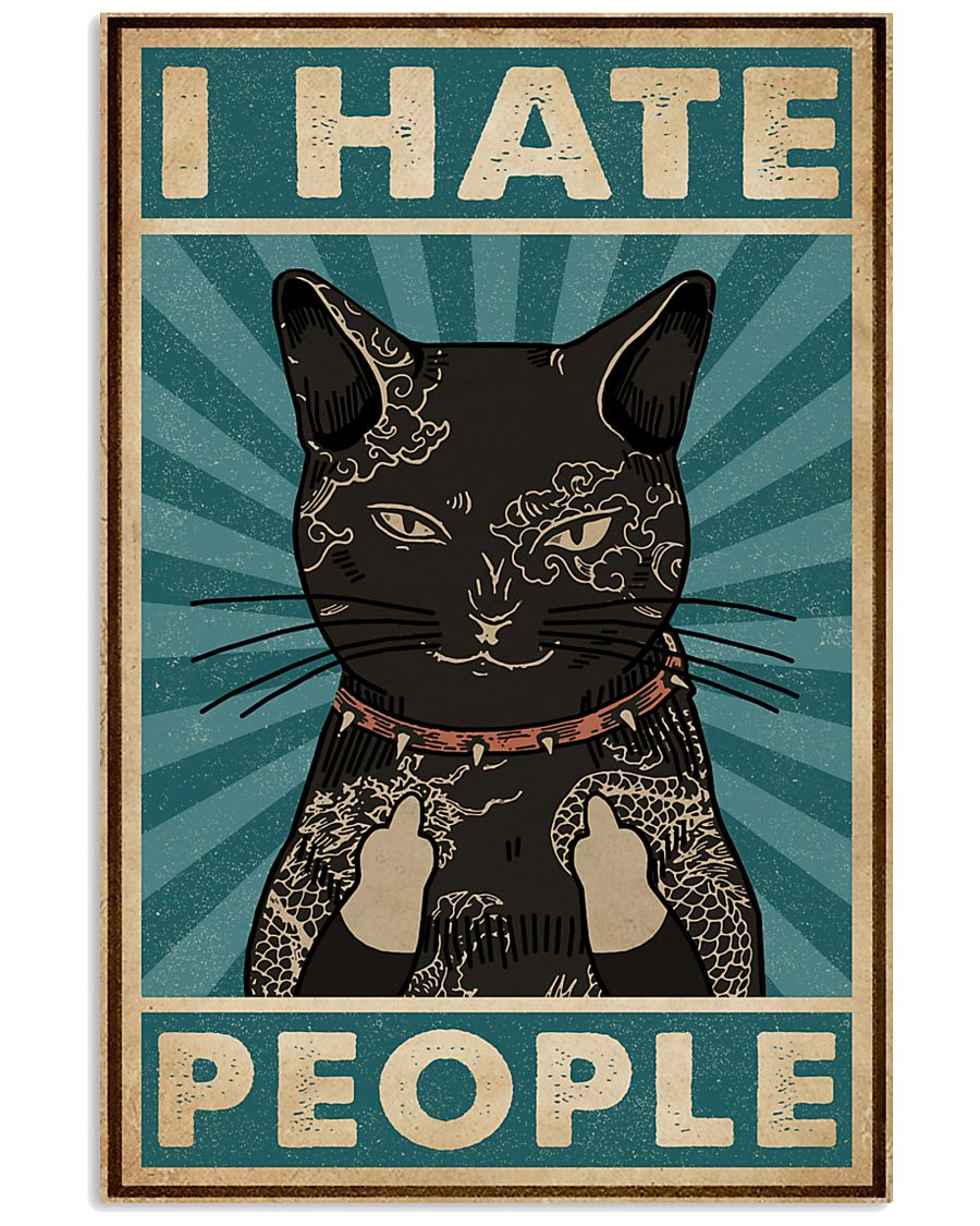 Retro Teal Tattoo Cat I Hate People 11x17 Poster