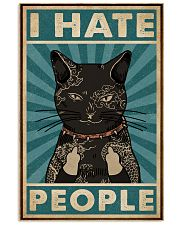 Retro Teal Tattoo Cat I Hate People 11x17 Poster front