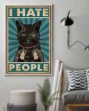 Retro Teal Tattoo Cat I Hate People 11x17 Poster lifestyle-poster-1