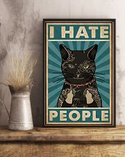 Retro Teal Tattoo Cat I Hate People 11x17 Poster lifestyle-poster-3