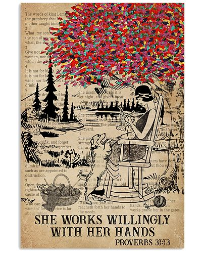 Catchphrase Works Willingly Hand Dog Knitting Girl