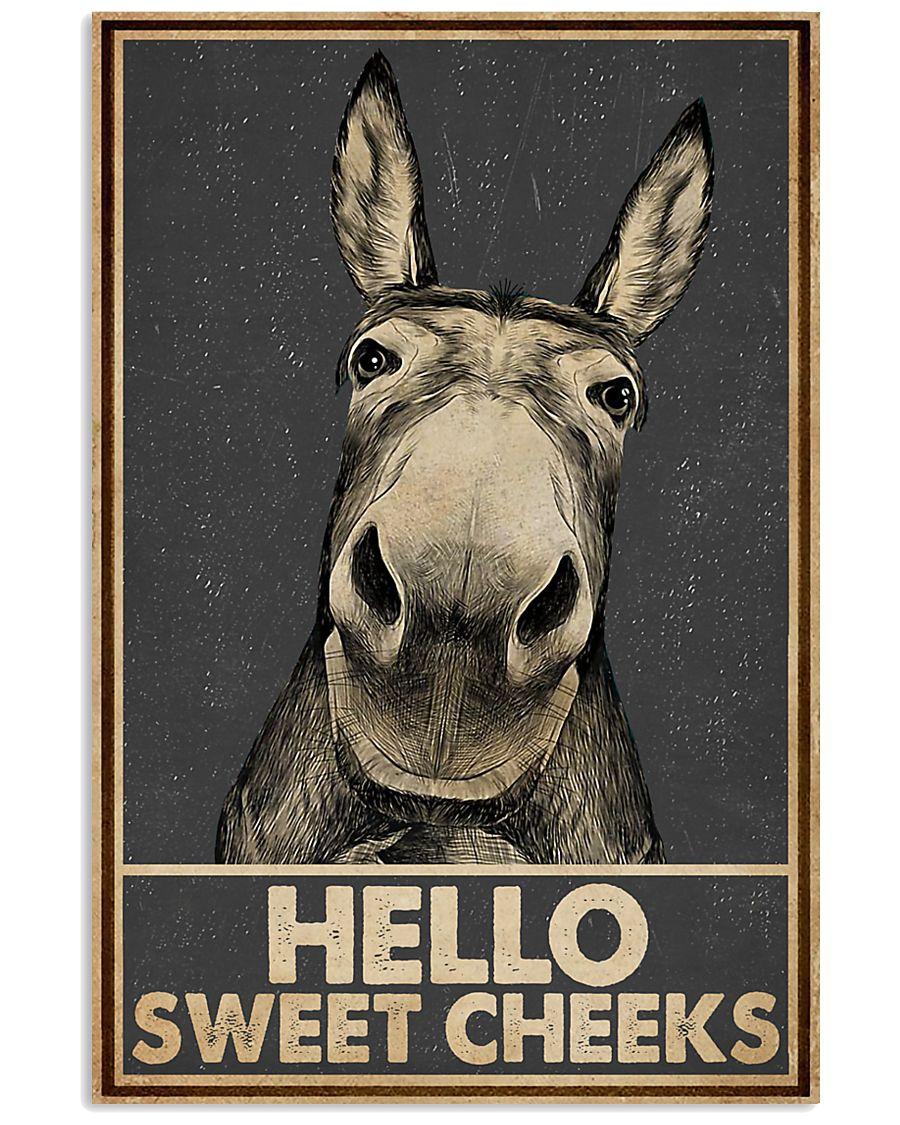 Gray Hello Sweet Cheeks Donkey 16x24 Poster